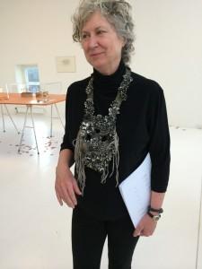 In Sweden, AJF Board Chair Susan Cummins, wearing Hannah Hedman Art piece necklace